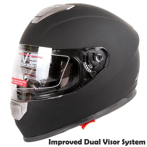 Matte Black Dual Visor Full Face Street Bike