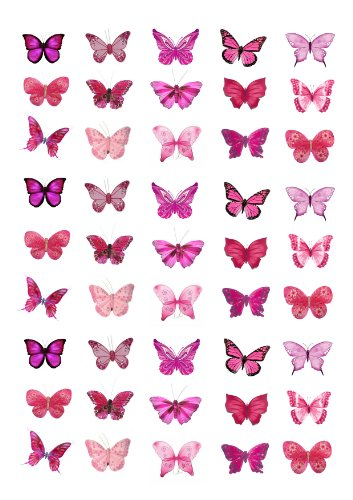 45 x Pink Butterflies Edible Cake Toppers (Wedding, Birthday, Cupcake topper by eShack)