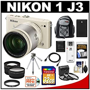 Nikon 1 J3 Digital Camera Body with 10-100mm VR Lens (Beige) with 32GB Card + Battery + Backpack + Filters + Tripod + Telephoto & Wide-Angle Lenses + Accessory Kit