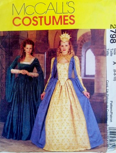 OOP McCalls Costume Pattern 2798. Misses Szs 6,8,10 Elizabethan Costumes Including a Crown (Elizabethan Costume Pattern)