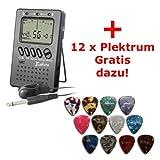 Stimmgerät für Gitarre und Bass sowie Blasinstrumente und Streichinstrumente mit Metronom + Gratiszugabe 12 x Plektrum