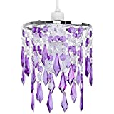 MiniSun - Elegant Chandelier Design Ceiling Pendant Light Shade With Beautiful Purple And Clear Acrylic Jewel Effect Droplets