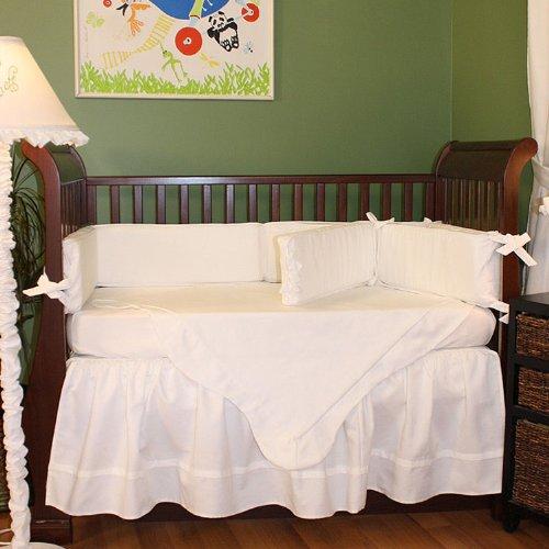 Hoohobbers 4-Piece Crib Bedding, White Pique