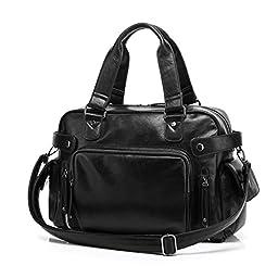 BAOSHA HB-08 Stylish Top PU Leather Handbag Briefcases Travel Weekend Bag Black
