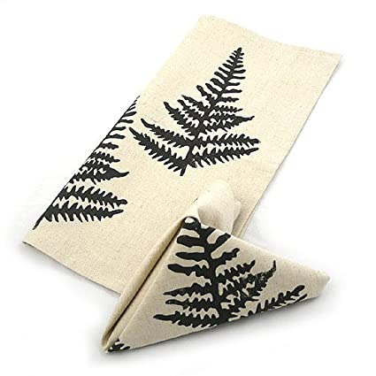 Fern Pattern Botanical Block Print Linen Napkins Set of 2 by Modern Artisans