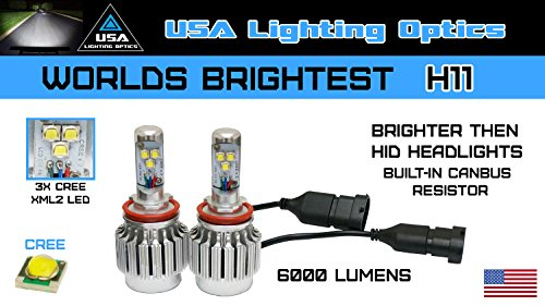 Worlds Brightest All In One Turbo H11 Led Head Lights 6000Lm 3X Cree Xm L2 Smd 30W Built-In Canbus Resistor Led Head Lights