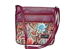 Maimona Sling bags Digitally Printed Multiple Pockets High Quality Leather Dark Pink Color