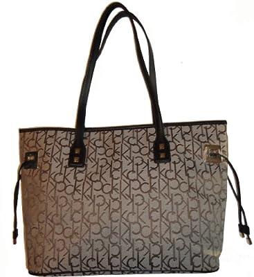 Calvin Klein Women's Purse Handbag Signature Tote Khaki/Brown