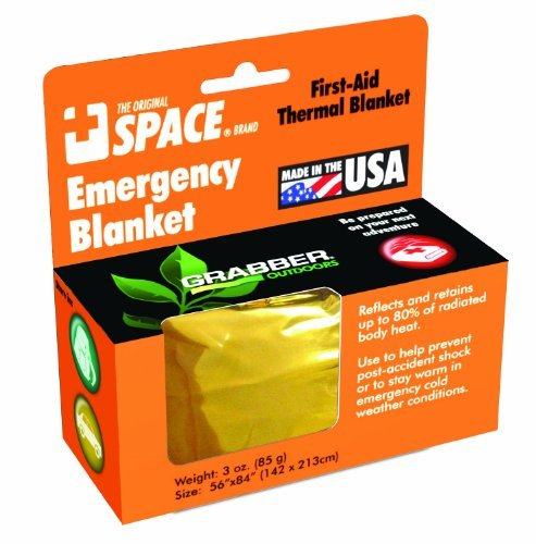 Grabber Outdoors The Original Space Brand Emergency Survival Blanket- Gold/Silver (Pack Of 3) Reflects & Retains 80% Of Radiated Body Heat Store In Car, Camper, Boat, Or Gear Bag In Case Of Emergency, Or Use After Marathons Or Sporting Events Waterproof &