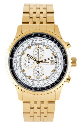 Burgmeister Savannah Bm320-289 Gents Chronograph  Gold White Dial Chrystals Date Day Month