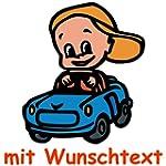 Bunter Babyaufkleber mit Wunschtext -...