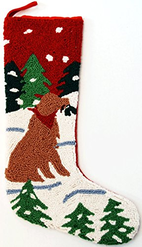 Alpine Mountain Golden Retriever Dog Hooked Wool Christmas Stocking- Large 21