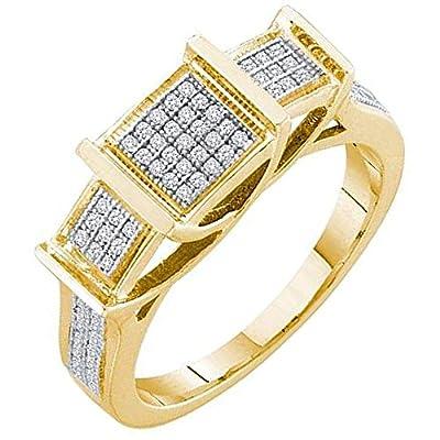 0.20 Carat (ctw) 10K Yellow Gold Round Cut White Diamond Ladies Micro Pave Bridal Engagement Ring