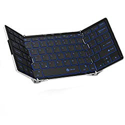 [Backlit Foldable Keyboard]iClever Ultra Slim 3 Color backlight Bluetooth Keyboard for iOS Windows Android Smartphone PC Tablet Aluminum Alloy,White