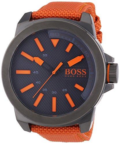 Hugo Boss  New York - Reloj de cuarzo para hombre, con correa de nailon, color naranja