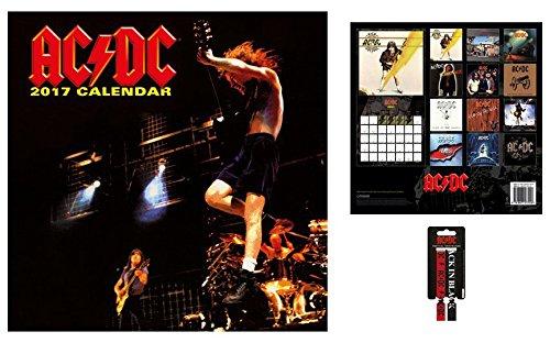 Set: AC/DC, Calendario Ufficiale 2017 (30x30 cm) E 1x Braccialetto (10x2 cm)