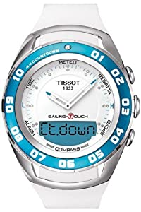 Tissot T0564201701600 44.5mm Diamonds Stainless Steel Case White Rubber Men's Watch