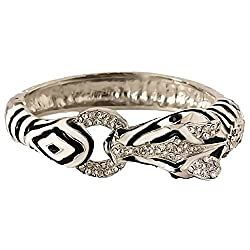 Silvertone and Rhinestone Zebra Bangle Bracelet