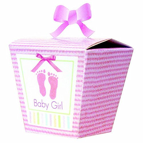 "Amscan Dainty ""It's A Girl!"" Striped Mini Baby Shower Party Favor Boxes (24 Count), 13.5 x 5.6"", Pink"
