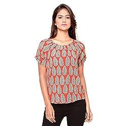 Ossi Regular Fit Light Orange Floral Short Sleeve top (HS3077-L)