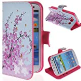Vandot 1 X 3D Bling Plum Blossom Flip Leather Case Protective Skin Case Cover Skin Hard Cover for Samsung Galaxy S3 i9300 i9305 Flower Leather Case by NYC Leather Factory Outlet