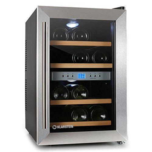 Klarstein Cantinetta Vino Frigo bottiglie (capacitá 34 Litri, 12 bottiglie di vino, 2 zone di raffreddamento programmabili, da 7° a -18°, 4 scompartimenti)