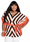 Ashley Stewart Womens Plus Size Mitered Striped Color Block Poncho