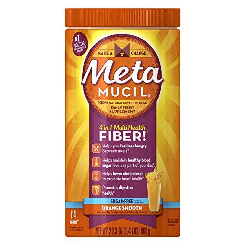 Metamucil Psyllium Fiber Supplement by Meta Orange Smooth Sugar Free Powder 114