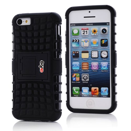 Bayke Brand / Apple Iphone 5C 2-Piec Dual Layer Tire Tread Combo Heavy Duty Rugged Matte Skidproof Hard Protective Case Cover With Kickstand (Black Tpu Inner)
