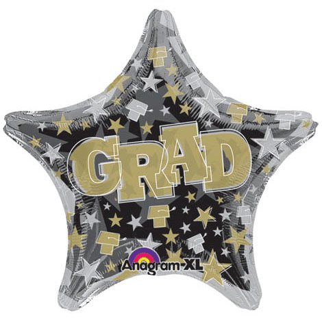 Party Destination 202822 Gold and Silver Graduation Star Foil Balloon
