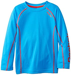 Reebok Little Boys' Long Sleeve Tech Top, Blue Vibe, 7
