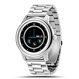 LEMFO LEM1 Smart Watch Bluetooth SmartWatch Fitness Tracker for iOS Android (Stainless Steel with Stainless Steel Link Band)