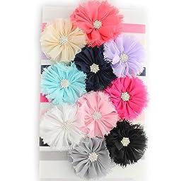 My Lello Girls Shabby Ballerina Flowers w/ Rhinestones Elastic Headbands Variety 10-Pack