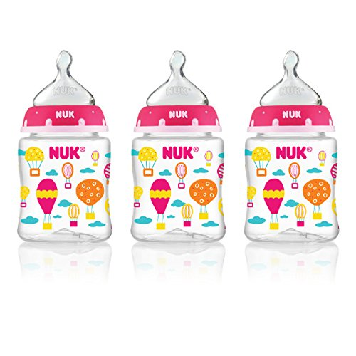 NUK Cars and Hot Air Balloons Orthodontic Bottle for Girls, 5-Ounce - 1