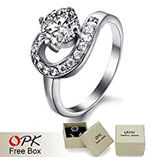 buy High Quality Jewelry Ring For Women Cubic Zirconia Diamond 316L Stainless Steel Crystal Engagement Wedding Rings 7317
