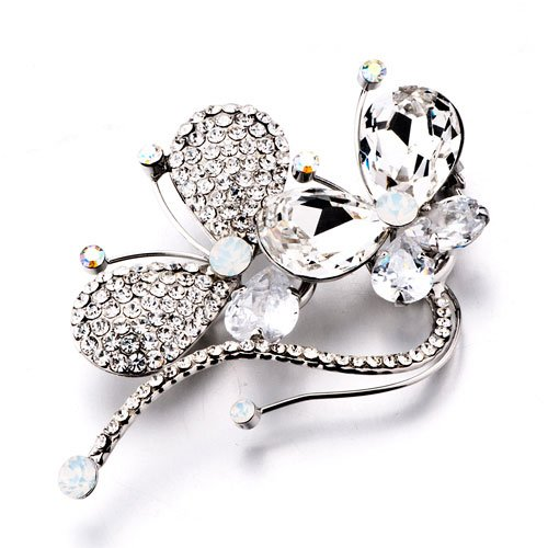 Pugster Christmas Gifts Empress Monarch Silver Flying Butterfly Winged Swarovski Crystal Rhinestone Brooches And Pins