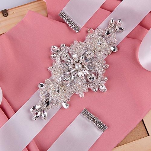 Rhinestone crystal wedding bridal sash belt black womens one size