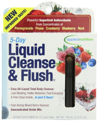 Applied Nutrition 5-Day Liquid Cleanse & Flush, Fast-Acting Mixed Berry Total Body Cleanse, 10-Twist Tubes Box ,100Ml(3.35Floz)