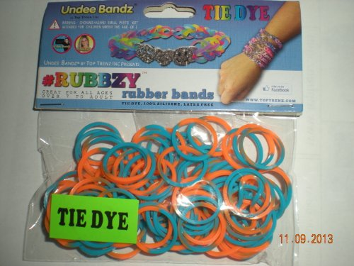 Rubbzy Turquoise and Orange Tie Dye Loose Rubber Bands
