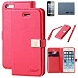 Case for iphone 5,Case for Iphone 5s, By Ailun,Wallet Case,PU Leather Case,Cut,Credit Card Holder,Flip Cover Skin,(Red),with Screen Protect and Styli Pen