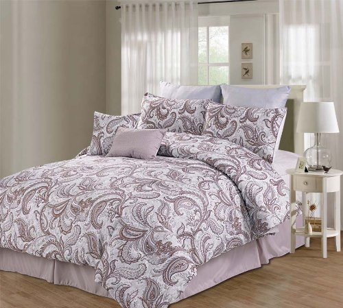 Luxury Home 8-Piece Printed Willowbrook Microfiber Comforter Set, King front-944521