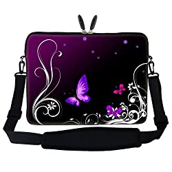 Meffort Inc 15 15.6 inch Laptop Sleeve Bag Carrying Case with Hidden Handle and Adjustable Shoulder Strap - Dark Purple Butterfly Design