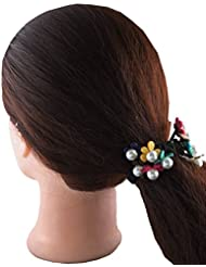 Anuradha Art Black Colour Beautiful Design With Multi Colour Flowers Hair Accessories Hair Band Stylish Rubber...