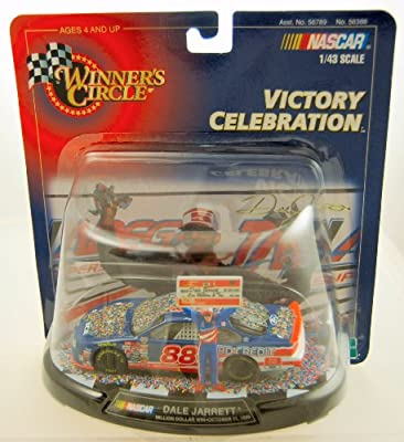 1999 - Hasbro - Winner's Circle - NASCAR - Victory Celebration - Dale Jarrett #88 - Ford Taurus - Million Dollar Win - Oct. 11, 1998 - 1:43 Scale Die Cast - w/ stand - Limited Edition - collectible