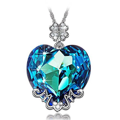 "LadyColour SWAROVSKI ELEMENTS Jewelry Sapphire Heart of Ocean ""Mom"" Pendant Engraved with ""Love"" Necklace,best gifts for Mom on Morther's Day, Birthday and Christmas Day,or just as a surprise to remind mom how much you care!"