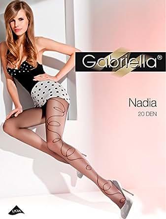 Gabriella Femmes Collants à Motif Mode GB 367 20 DEN (Beige, 2 (32-36))