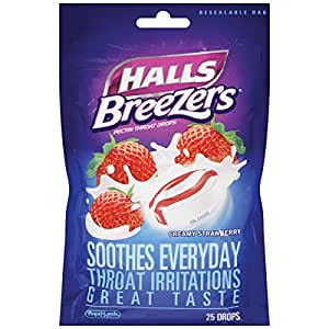 Halls Breezers Drops, Creamy Strawberry, 25-Count Drops (Pack of 12)