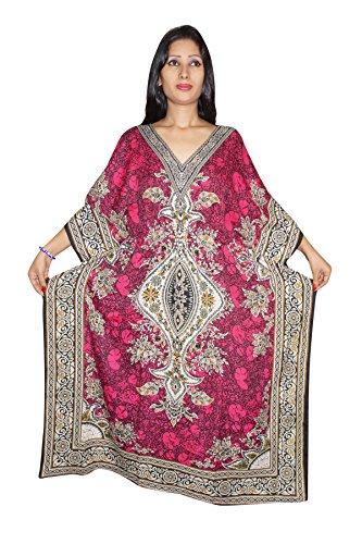 Indiatrendzs Women's Long Dashiki Boho Pink Kaftan Dress With Dori At Waist  available at amazon for Rs.385