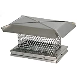Chimney 13305 Gelco Stainless Chimney Cap - .625 Inch Small Mesh - 8 Inches x 17 Inches