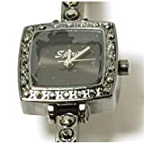 Spirit Black Stone Set Square Ladies Bracelet Strap Fashion Watch ASPL39